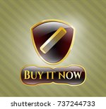shiny badge with hair comb... | Shutterstock .eps vector #737244733