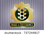 gold badge with traffic light... | Shutterstock .eps vector #737244817