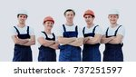 large group of workers standing ... | Shutterstock . vector #737251597