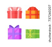 four colored gift boxes... | Shutterstock .eps vector #737260207