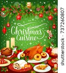 christmas dinner invitation or... | Shutterstock .eps vector #737260807