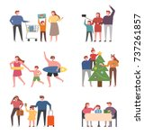 happy time with family members. ... | Shutterstock .eps vector #737261857