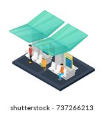town waiting station isometric... | Shutterstock .eps vector #737266213