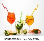 alcoholic beverage and fruit at ... | Shutterstock . vector #737275987