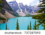 beautiful and iconic moraine... | Shutterstock . vector #737287093