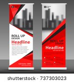 red roll up banner stand... | Shutterstock .eps vector #737303023