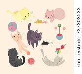 Stock vector cute cats vector set 737303533