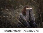 head on hands  beautiful... | Shutterstock . vector #737307973