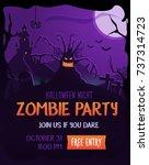 editable halloween party poster.... | Shutterstock .eps vector #737314723