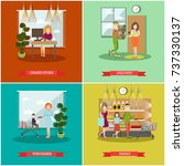 vector set of purchases concept ... | Shutterstock .eps vector #737330137