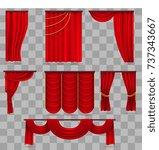 realistic red velvet stage...   Shutterstock .eps vector #737343667