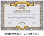 vintage vector certificate... | Shutterstock .eps vector #737354413