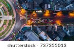 aerial view road roundabout ... | Shutterstock . vector #737355013