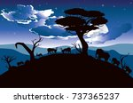 colorful night scene  african... | Shutterstock .eps vector #737365237
