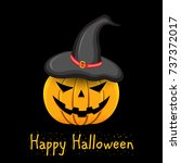 pumpkin with witch hat on head... | Shutterstock . vector #737372017