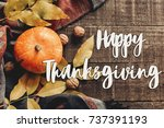 happy thanksgiving text sign ... | Shutterstock . vector #737391193