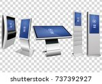 set of stand and wall mount... | Shutterstock .eps vector #737392927