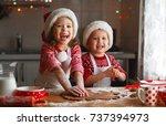 happy funny children bake... | Shutterstock . vector #737394973