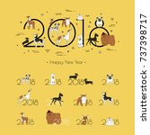 2018   the year of the dog to... | Shutterstock .eps vector #737398717