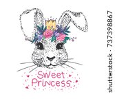 cute bunny sweet princess with... | Shutterstock .eps vector #737398867