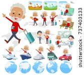 set of various poses of red... | Shutterstock .eps vector #737403133