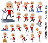 set of various poses of red... | Shutterstock .eps vector #737403157