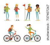 family tourism. people hiking.... | Shutterstock .eps vector #737407267