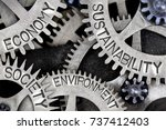 macro photo of tooth wheel... | Shutterstock . vector #737412403