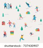winter sport scene  christmas... | Shutterstock .eps vector #737430907