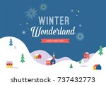 winter wonderland  merry... | Shutterstock .eps vector #737432773