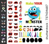 make a monster icons set  with... | Shutterstock .eps vector #737434687