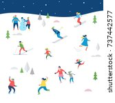 winter sport scene  christmas... | Shutterstock .eps vector #737442577