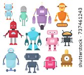 cute cartoon robots  android... | Shutterstock .eps vector #737461243