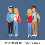 young  couples with gadgets and ...   Shutterstock .eps vector #737461633