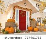 3d rendering. autumn decorated... | Shutterstock . vector #737461783