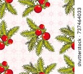 seamless pattern with branches... | Shutterstock .eps vector #737464033