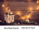 christmas decorations on dark... | Shutterstock . vector #737477737