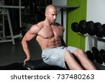 exercising abs abdominals in... | Shutterstock . vector #737480263