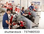 trainee engineers operating... | Shutterstock . vector #737480533