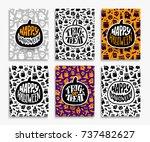 happy halloween backgrounds.... | Shutterstock .eps vector #737482627