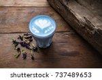 a glass of hot milk butterfly... | Shutterstock . vector #737489653