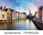 Rainbow Over Canal In Bruges...