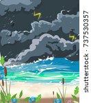 a storm by a sandy beach during ... | Shutterstock . vector #737530357