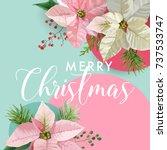 christmas winter poinsettia... | Shutterstock .eps vector #737533747