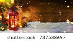 lantern with christmas... | Shutterstock . vector #737538697