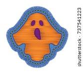 halloween ghost embroidery... | Shutterstock .eps vector #737541223