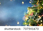 christmas snow background. | Shutterstock . vector #737541673