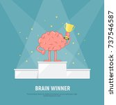 cartoon brain stands on the... | Shutterstock .eps vector #737546587