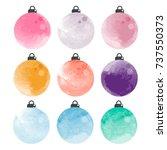 set of decorative watercolor... | Shutterstock .eps vector #737550373