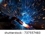 welder  craftsman  erecting... | Shutterstock . vector #737557483